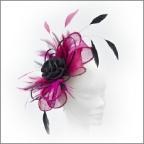 c9619e8b Bow design fuchsia pink and black wedding fascinator ideal for wedding  guests, Mother of the